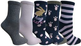 Yacht&smith 5 Pairs Of Womens Crew Socks, Fun Colorful Hip Patterned Everyday Sock (color Prints k)