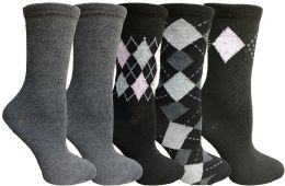 Yacht&smith 5 Pairs Of Womens Crew Socks, Fun Colorful Hip Patterned Everyday Sock (assorted Argyle f)