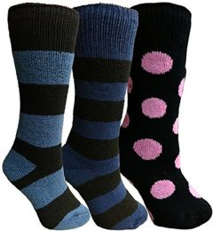 Yacht&smith 3 Pairs Womens Brushed Socks, Warm Winter Thermal Crew Sock