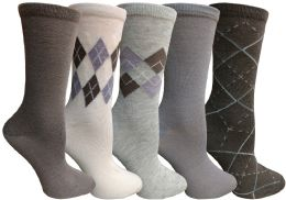 Yacht&smith 5 Pairs Of Womens Crew Socks, Fun Colorful Hip Patterned Everyday Sock (assorted Argyle a)