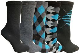 Yacht&smith 5 Pairs Of Womens Crew Socks, Fun Colorful Hip Patterned Everyday Sock (assorted Argyle b)