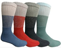 Mens AntI-Microbial Crew Socks, Comfort Knit Ringspun Cotton, Terry Lined (4 Pack)