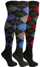 Yacht & Smith Womens Over The Knee Socks Thigh High Knee Socks Argyle Print
