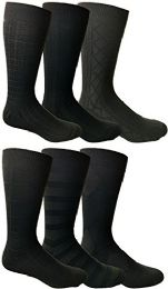 Yacht&smith Mens Dress Socks, Textured Solid Colors, Knit Black