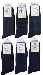 Yacht & Smith Men's Navy Textured Dress Socks Size 10-13