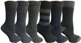 Yacht&smith 6 Pairs Womens Boot Socks, Thick Warm Winter Crew Sock (6 Pairs, Assorted b)