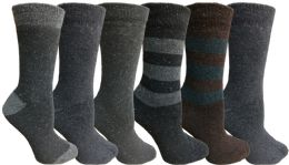 Yacht&smith 6 Pairs Womens Boot Socks, Thick Warm Winter Crew Sock (6 Pairs, Assorted c)