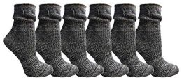 Yacht&smith Ruffle Slouch Socks For Women, Unique Frilly Cuff Fashion Trendy Ankle Socks (6 Pair Navy Combo)