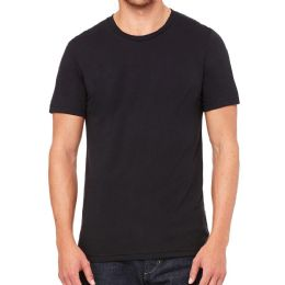 Mens Cotton Crew Neck Short Sleeve T-Shirts Black, Large