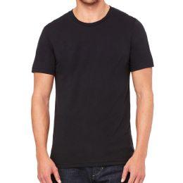 Mens Cotton Crew Neck Short Sleeve T-Shirts Black, X-Large