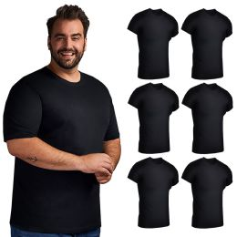 Mens Cotton Crew Neck Short Sleeve T-Shirts Black, XX-Large