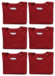 Mens Cotton Crew Neck Short Sleeve T-Shirts Red, Large