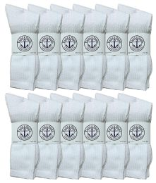 Yacht & Smith Men's King Size Cotton Crew Socks White Size 13-16