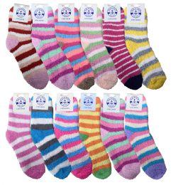 Yacht & Smith Women's Fuzzy Snuggle Socks , Size 9-11 Comfort Socks Assorted Stripes