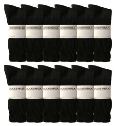 Yacht & Smith Men's King Size Cotton Crew Socks Black Size 13-16