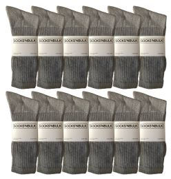 Yacht & Smith King Size Men's Cotton Terry Cushion Crew Socks Size 13-16 Gray