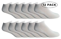 Yacht & Smith Men's Cotton Terry Cushioned No Show Ankle Socks, Size 10-13 White