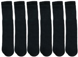 Yacht & Smith 28 Inch Men's Long Tube Socks, Black Cotton Tube Socks Size 10-13