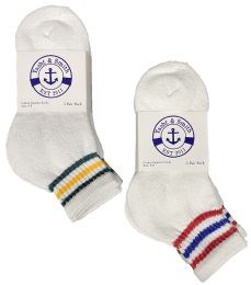 Yacht & Smith Kids Cotton Quarter Ankle Socks Size 6-8 White With Stripes