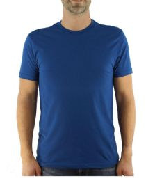 Mens Cotton Crew Neck Short Sleeve T-Shirts Solid Blue, Medium