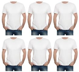 Mens Cotton Short Sleeve T Shirts Solid White Size L