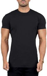 Mens Cotton Crew Neck Short Sleeve T-Shirts Black, XX-Large
