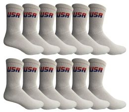 Yacht & Smith King Size Men's Cotton Terry Cushion Athletic Crew Socks USA Size 13-16