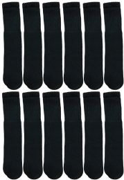 Yacht & Smith 28 Inch Men's Long Tube Socks, Black Cotton Tube Socks Size 10-13