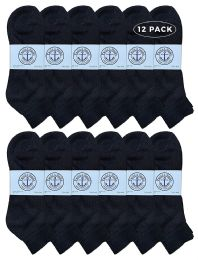 Yacht & Smith Men's King Size Cotton Terry Cushion Sport Ankle Socks Size 13-16 Black