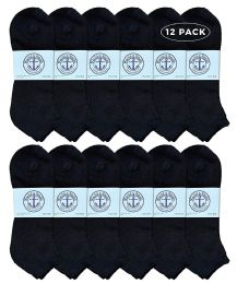 Yacht & Smith Men's Cotton No Show Ankle Socks King Size 13-16 Black