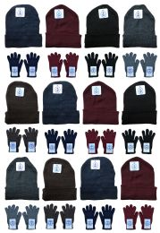 Yacht & Smith Mens Warm Winter Hats And Glove Set Solid Assorted Colors 24 Pieces