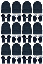 Yacht & Smith Unisex Warm Winter Hats And Glove Set Solid Black 24 Piece