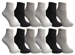 Yacht & Smith Wholesale Bulk Womens Mid Ankle Socks, Cotton Sport Athletic Socks - Assorted, 12 Pairs
