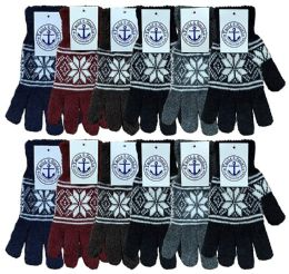 Wholesale Bulk Winter Magic Gloves Warm Brushed Interior, Stretchy Assorted Mens Womens (mens/snowflakes, 12)