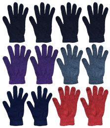 Wholesale Bulk Winter Magic Gloves Warm Brushed Interior, Stretchy Assorted Mens Womens (womens/assorted, 12)