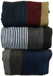 Yacht&smith 3 Pack Mens Designer Winter Scarves, Stripe Patterned Neck Scarf - Price Per 3