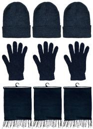 Yacht & Smith Unisex 3 Piece Pre Assembled  Winter Care Set Hat Gloves & Scarf Solid Black