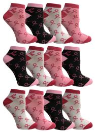 Yacht & Smith Pink Ribbon Breast Cancer Awareness Ankle Socks For Women