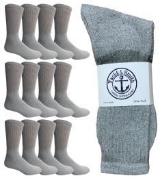 Yacht & Smith Mens King Size Crew Socks, Big And Tall Sports Athletic Socks, 13-16 (gray)