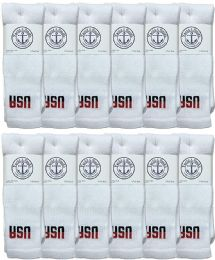 Yacht & Smith Men's Cotton 28 Inch Tube Socks, Referee Style, Size 10-13 White With Usa Print