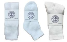 Yacht & Smith Kid's Cotton Sock Set Assorted Styles, Crew, Ankle And Tube White