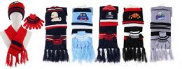 Yacht & Smith Boys 3 Piece Winter Set , Hat Glove Scarf Assorted Prints Ages 1-8