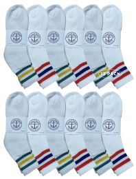 Yacht & Smith Wholesale Bulk Womens Mid Ankle Socks, Cotton Sport Athletic Socks - Size 9-11, (White with Stripes, 12)