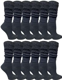 Yacht & Smith Womens Cotton Slouch Socks, Womans Knee High Boot Socks Solid Black