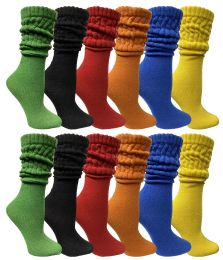Yacht & Smith Womens Cotton Slouch Socks, Womans Knee High Boot Socks (12 Pack Assorted)