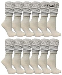 Yacht & Smith Womens Cotton Slouch Socks, Womans Knee High Boot Socks (white, 12 Pack)