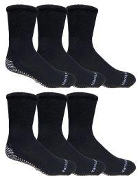 Yacht & Smith Mens Loose Fit Gripper Bottom NoN-Skid Slipper Socks ,yoga, Trampoline Socks Solid Black