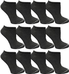 Yacht & Smith Womens 97% Cotton Light Weight No Show Ankle Socks Solid Dark Heather Gray