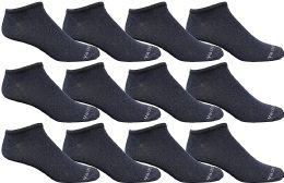 Yacht & Smith Mens 97% Cotton Light Weight No Show Ankle Socks Solid Navy