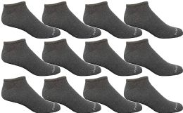Yacht & Smith Mens 97% Cotton Light Weight No Show Ankle Socks Solid Gray